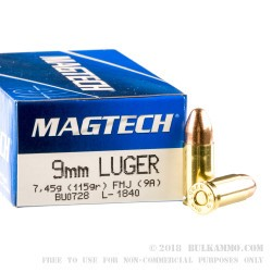 1000 Rounds of 9mm Ammo by Magtech - 115gr FMJ