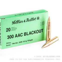 500 Rounds of .300 AAC Blackout Ammo by Sellier & Bellot - 124gr FMJ