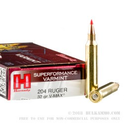 20 Rounds of .204 Ruger Ammo by Hornady - 32gr Vmax