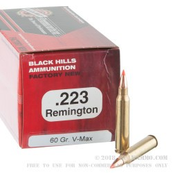 50 Rounds of .223 Ammo by Black Hills Ammunition - 60gr V-Max Polymer Tipped