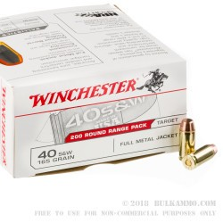600 Rounds of .40 S&W Ammo by Winchester - 165gr FMJ