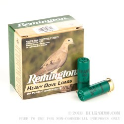 250 Rounds of 12ga Ammo by Remington Heavy Dove Load - 1 1/8 ounce #7 1/2 shot