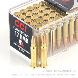 50 Rounds of .17HMR Ammo by CCI - 20gr JSP