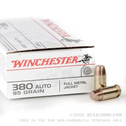 50 Rounds of .380 ACP Ammo by Winchester - 95gr FMJ