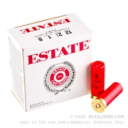 250 Rounds of 12ga Ammo by Estate Cartridge - 1 ounce #8 shot