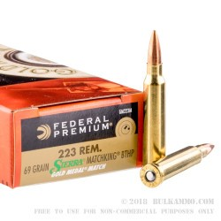 500  Rounds of .223 Ammo by Federal Sierra Match King - 69gr HPBT