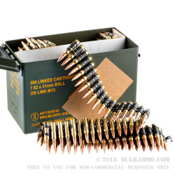 500 Rounds of 7.62x51mm Linked M80 Ammo by Magtech - 148gr FMJ-BT