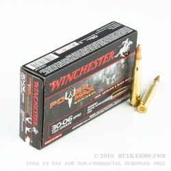 20 Rounds of 30-06 Springfield Ammo by Winchester - 150gr HP