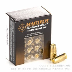 20 Rounds of .45 GAP Ammo by Magtech - 185gr JHP