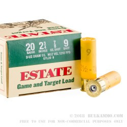 250 Rounds of 20ga Ammo by Estate Cartridge - 7/8 ounce #9 shot