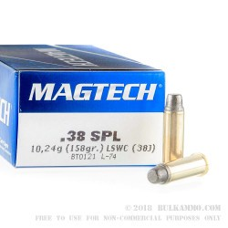 50 Rounds of .38 Spl Ammo by Magtech - 158gr Lead Semi-Wadcutter