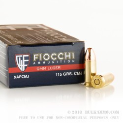 50 Rounds of 9mm Ammo by Fiocchi - 115gr CMJ