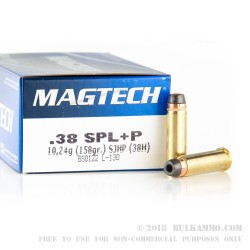 50 Rounds of .38 Spl Ammo by Magtech - 158gr +P SJHP