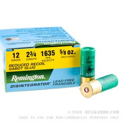 25 Rounds of 12ga Ammo by Remington Defense Reduced Recoil - Frangible Sabot Slug