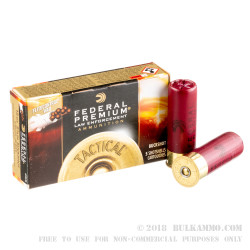 5 Rounds of 12ga Ammo by Federal LE with FliteControl Wad-  00 Buck 8 Pellets