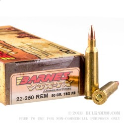20 Rounds of .22-250 Rem Ammo by Barnes VOR-TX - 50gr TSX FB