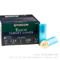 "25 Rounds of 12ga Ammo by Fiocchi Crusher - 2-3/4"" 1 ounce #7 1/2 shot"