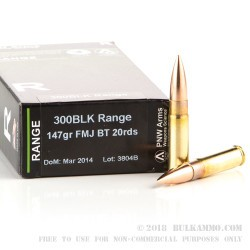 20 Rounds of .300 AAC Blackout Ammo by PNW Arms - 147gr FMJ