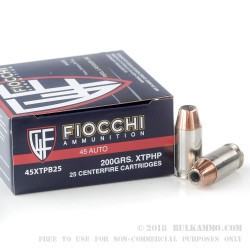 500  Rounds of .45 ACP Ammo by Fiocchi - 200gr XTP JHP