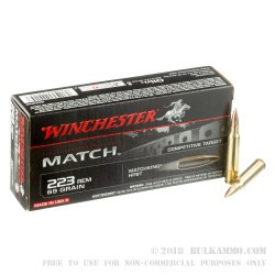 200 Rounds of .223 Ammo by Winchester - 69gr HPBT