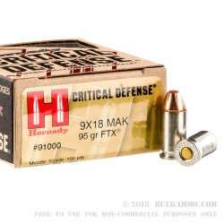 25 Rounds of 9x18mm Makarov Ammo by Hornady Critical Defense - 95gr JHP