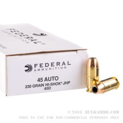 1000 Rounds of .45 ACP Ammo by Federal Classic - 230gr JHP Hi-Shok