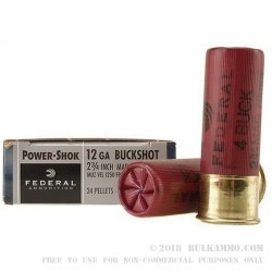 """5 Rounds of 12ga 2-3/4"""" Ammo by Federal Power-Shok -  #4 Buck"""