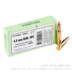 20 Rounds of 6.8 SPC Ammo by Sellier & Bellot - 110gr FMJ