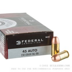 50 Rounds of .45 ACP Ammo by Federal - 230gr FMJ