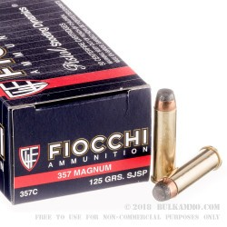 50 Rounds of .357 Mag Ammo by Fiocchi - 125gr SJSP
