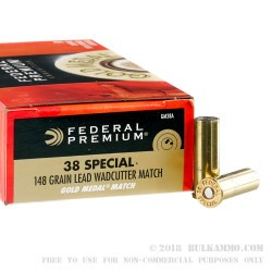 50 Rounds of .38 Spl Ammo by Federal Gold Medal Match - 148gr Lead Wadcutter