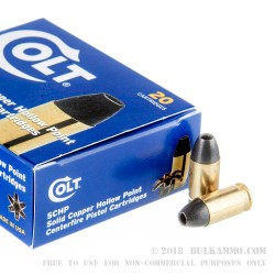 20 Rounds of .380 ACP Ammo by Colt - 80gr SCHP