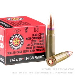 20 Rounds of 7.62x39mm Ammo by Red Army Standard - 124gr FMJ-BT