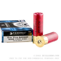 """5 Rounds of 12ga Ammo by Federal Power-Shok - 2-3/4""""  00 Buck"""