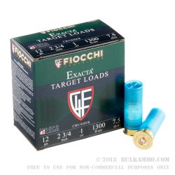 "250 Rounds of 12ga Ammo by Fiocchi Crusher - 2-3/4"" 1 ounce #7 1/2 shot"