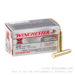 500rds - 22 Mag Winchester Super-X 40gr. FMJ Ammo