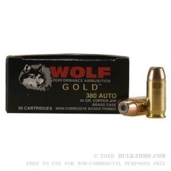1000 Rounds of .380 ACP Ammo by Wolf - 94gr JHP