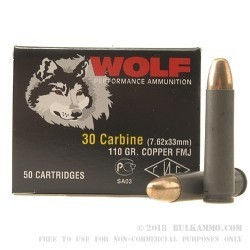 1000 Rounds of .30 Carbine Ammo by Wolf - 110gr FMJ