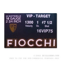 25 Rounds of 16ga Ammo by Fiocchi - 1 ounce #7 1/2 shot