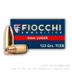 1000 Rounds of 9mm Leadless Ammo by Fiocchi - 123gr FMJTCEB
