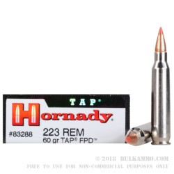 200 Rounds of .223 Ammo by Hornady - 60gr Polymer Tipped