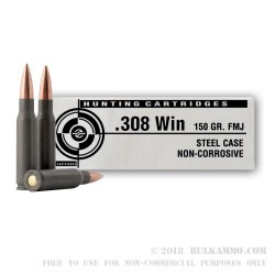 500  Rounds of .308 Win Ammo by Tula - 150gr FMJ