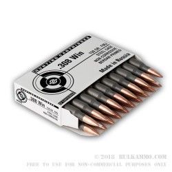 20 Rounds of .308 Win Ammo by Tula - 150gr FMJ