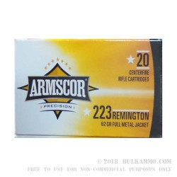 1000 Rounds of .223 Ammo by Armscor - 62gr FMJ