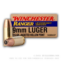 500  Rounds of 9mm Ammo by Winchester - 115gr JHP