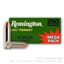 250 Rounds of .38 Spl Nickel Plated Ammo by Remington - 130gr MC