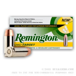 500  Rounds of .40 S&W Nickel Plated Ammo by Remington - 165gr MC