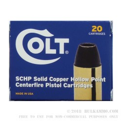 20 Rounds of .45 ACP Ammo by Colt - 185gr SCHP