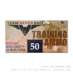 50 Rounds of 9mm Ammo by Team Never Quit - 100gr Frangible