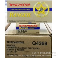 500  Rounds of .40 S&W Ammo by Winchester Ranger - 135gr JHP